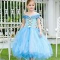 Princesa Cenicienta Tutu Vestido en Azul Claro y Blanco de La Mariposa Chica Verano Tutus Vestido de Fiesta de La Boda Cosplay TS057