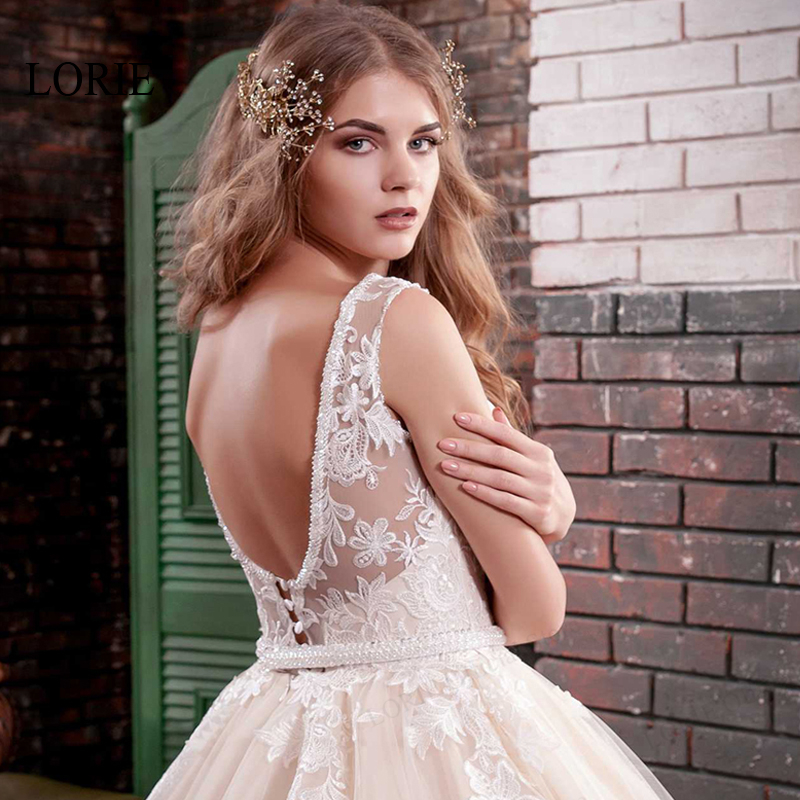 LORIE 2019 New Ball Gown Wedding Dress Sleeveless Beading Applique Tulle Bridal Gown Backless Robe De Mariage Vestidos de novia in Wedding Dresses from Weddings Events