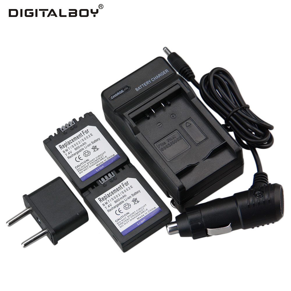 Digital Boy 2 Pcs CGR-S002 CGR S002 CGRS002 Camera Battery + Charger + Car Charger For Panasonic DMC-FZ1 DMC-FZ10