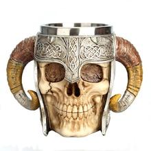 550ML Stainless Steel Skull Mug Viking Ram Horned Stein Tankard Water Beer Coffee Mug Tea Cup Halloween Bar Drink Water Gift
