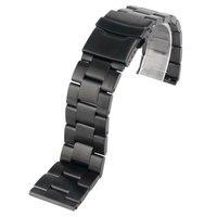 Stainless Steel 2 Spring Bars Men Watchband Solid Link Fashion Bracelet 20 22mm Black Luxury HQ