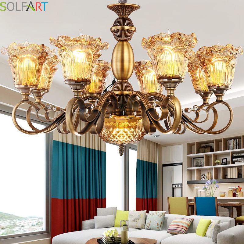 SOLFART Chandelier Lustre Copper Brass Iron Lamps Lighting Pendant Lustre Crital Modern Amber Glass Chandelier Lighting d1000mm h650mm 10 heads brass pendant lamp antique brass chandelier vintage copper glass ac 100