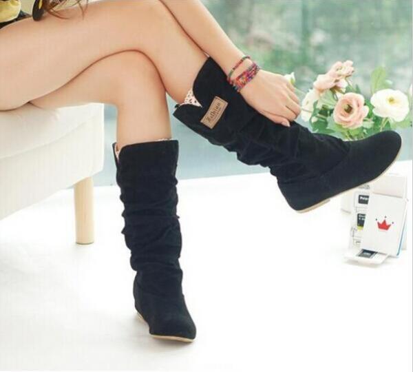 Moda Dulces Flock Primavera Otoño Botas Elegante 2 Negro 1 C024 Nueva Flat Mujeres Princesa Zapatos 2016 calf Mid Casual 5q8ffP