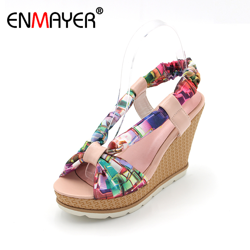 ENMAYER  Bohemia Beaded Colorful Ankle Strappy High Heels Summer Shoes Sexy Wedge Sandals Open Toe Platform Sandals Women enmayer print wedge sandals new fashion pu women high heel sandals for women casual shoes bow summer shoes women big bohemia