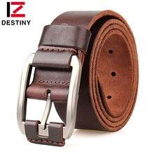 DESTINY Cinturón de piel auténtica para hombre, cinturón de tela vaquera de alta calidad con hebilla de Metal, de diseñador de lujo