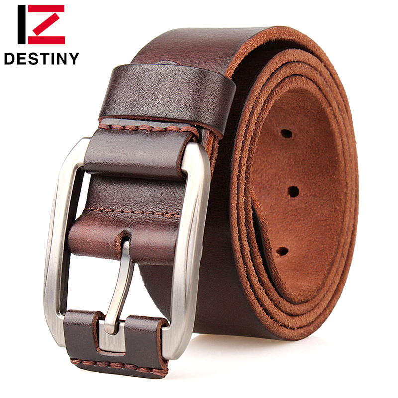 DESTINY Menn Belter Mann Genuine Leather Strap Luksus Designer Fivela Cowboy Ceinture Homme High Quality Jeans Belt Metal Buckle