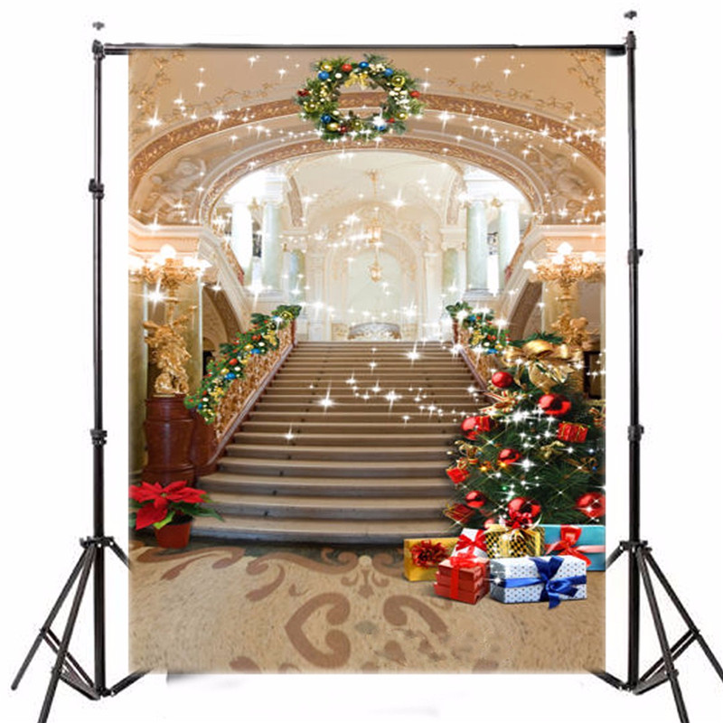 5x7ft Photography Background Vinyl Christmas Tree European Palace photographic Backdrop for Studio Photo Prop cloth 1.5x2.1m