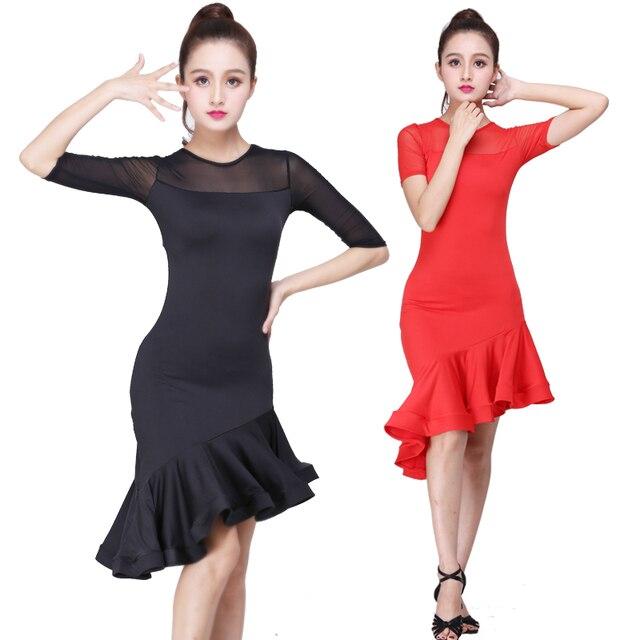 ad8b74953444 Black Red Latin dance dress 2018 new design women latin dance costume samba dance  costumes carnival salsa dance dresses