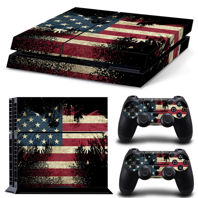 USA FLAG PS4 PS 4 Skin Sticker Cover Skins For Sony Playstation 4 + 2Pcs Controllers Vinyl Stickers Game Accessories