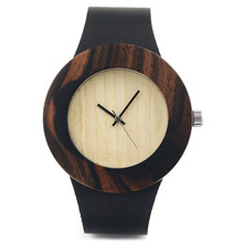 BOBO BIRD C08 Womens Retro Wooden Gold Watches with Black Real Leather Straps Simplement Design Ladies Wristwatch