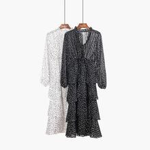 Spring Autumn Vintage Star Print Long Dress 2018 Casual Ruff