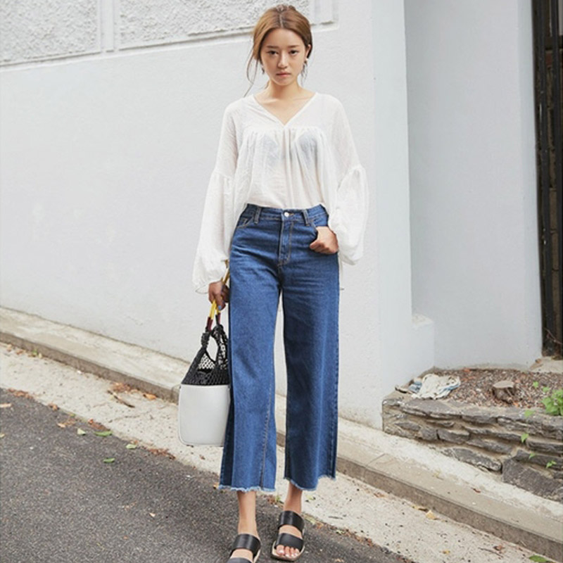 2017 New Fashion Denim Wide Leg Pants Women Loose Ankle-Length High Waist Straight Jeans Tassel Casual Trousers Plus Size new fashion 2017 women s wide leg pants jeans ladies loose ankle length denim pants high quality women hole jeans pants american
