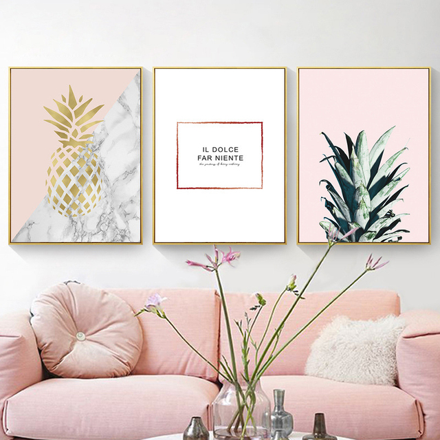 HAOCHU Nordic Gold Pineapple Marbling Base Minimalist Living Room Decoration  Abstract Canvas Painting Chic Photo Prop Background