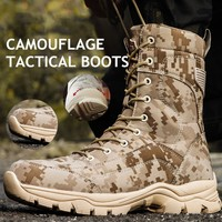 Camouflage Tactical Military Boots Autumn Winter Outdoor Climbing Waterproof High Shoes Army Combat Training Desert Hiking Boot