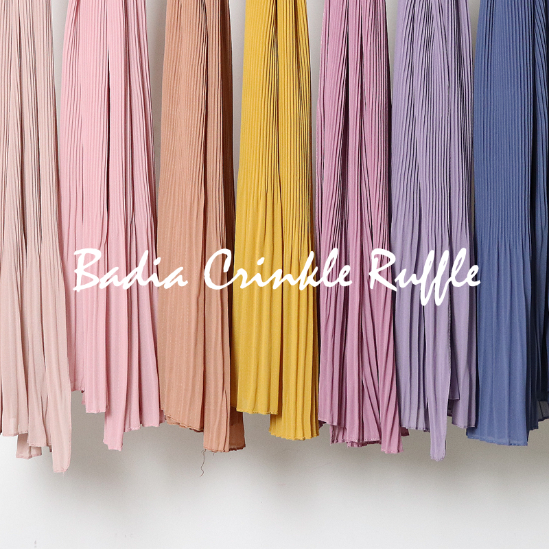 High Quality Women Muslim Malaysia Ruffle Chiffon Scarf Islamic Shawls Headwear Long Wraps Pleated Solid Plain Chiffon Hijabs