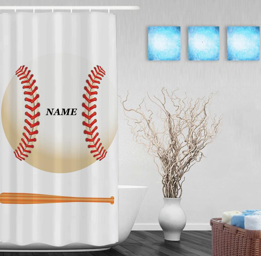 Personalized Baseball Game Shower Curtain Customize Name Decor Bathroom Curtains Polyester Waterproof Fabric With Hooks In From Home