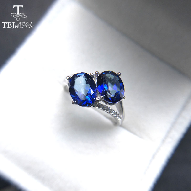 TBJ,New  Coated tanzanite deep blue color topaz Gemstone Ring in 925 sterling silver fine jewelry  for women with gift boxTBJ,New  Coated tanzanite deep blue color topaz Gemstone Ring in 925 sterling silver fine jewelry  for women with gift box