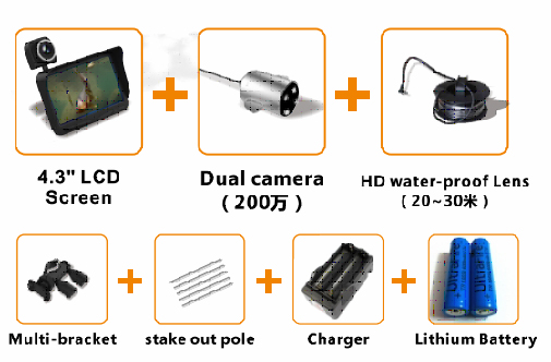 HD Underwater Video Camera System with 4.3 LCD Monitor 4000mAh Battery Built-in & 20M 2MP Fishing Camera and AHD Camera on LCD_7