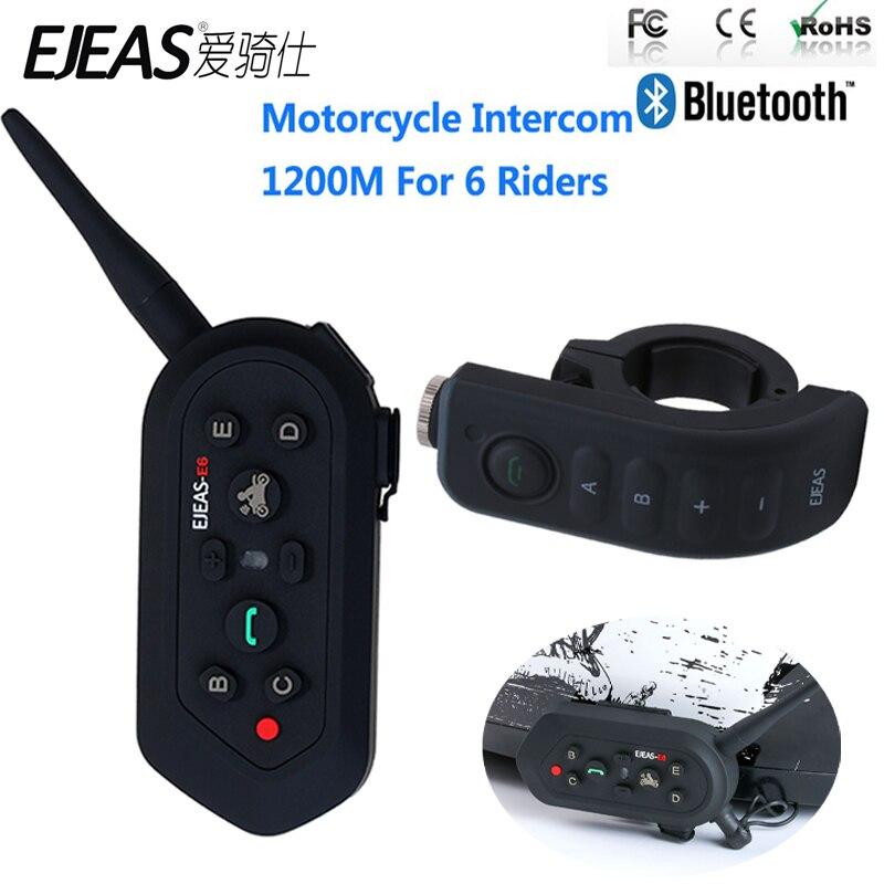 EJEAS E6 Plus 1200M Motorcycle Helmet Headset Bluetooth Intercom Handle Bar 6 Riders BT Interphone Voice