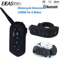 EJEAS E6 Plus 1200M Motorcycle Helmet Headset Bluetooth Intercom Handle Bar 6 Riders BT Interphone Voice Trigger Remote Control