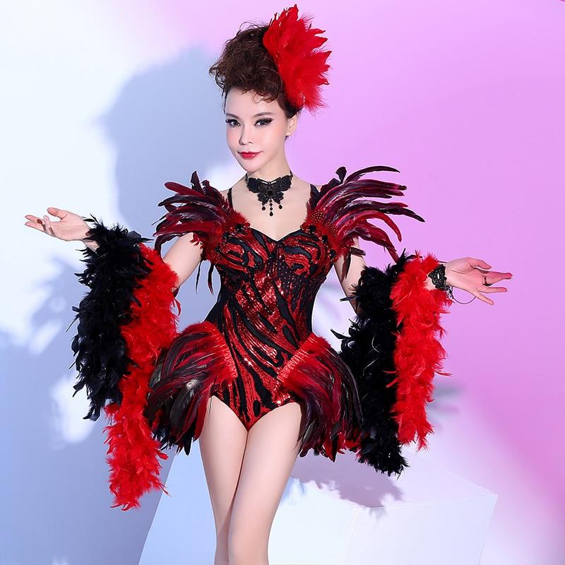 Черный, красный перо открытие Танцы боди сексуальные Для женщин наряд Для женщин праздновать костюм комплекта этап вечерние певица Танцы о