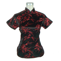 Hot Sale Black Red Free Shipping Chinese Tradition Summer Ladies Shirt Blouse Tops Size S M
