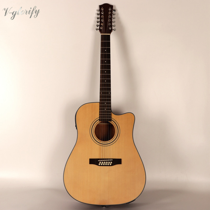 buy natural color cutway 12 string acoustic electric guitar from reliable. Black Bedroom Furniture Sets. Home Design Ideas