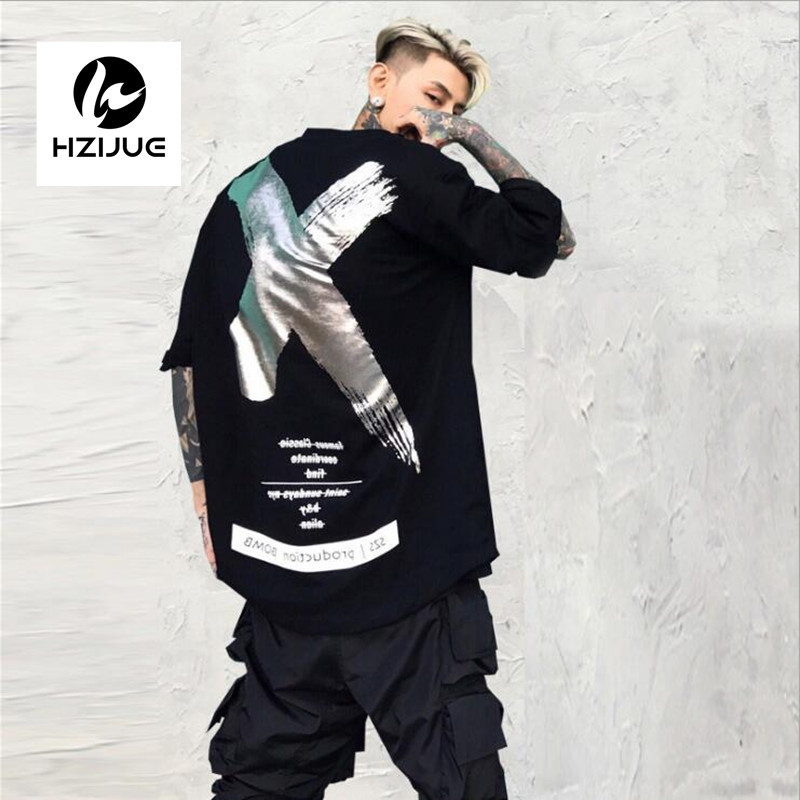 2017 Men Women Hip Hop T Shirt Fashion Summer Gold and silver X paint slogan five sleeve T shirt with short gentleman sleeves
