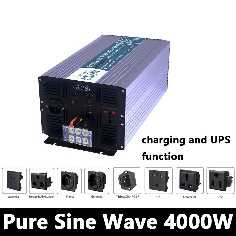 Full Power 4000W Pure Sine Wave Inverter,DC 12V/24V/48V To AC110V/220V,off Grid Solar inverter With Battery Charger And UPS ce and rohs dc 48v to ac 100v 110v 120v 220v 230v 240v off grid 6000 watt pure sine wave inverter