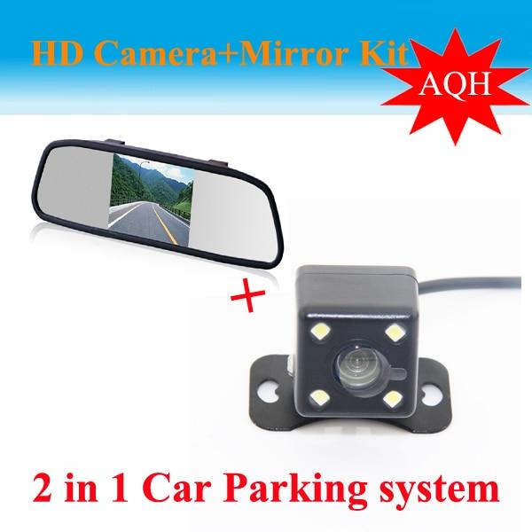 Livraison gratuite universel voiture vue arrière caméra voiture Parking caméra de sauvegarde avec HD 5 pouces miroir moniteur système de stationnement
