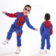 Boys Spring Autumn Spiderman Sports wear hoodies t shirt+pants 2 pcs /set Tracksuits Kids Clothing sets Casual clothes suit