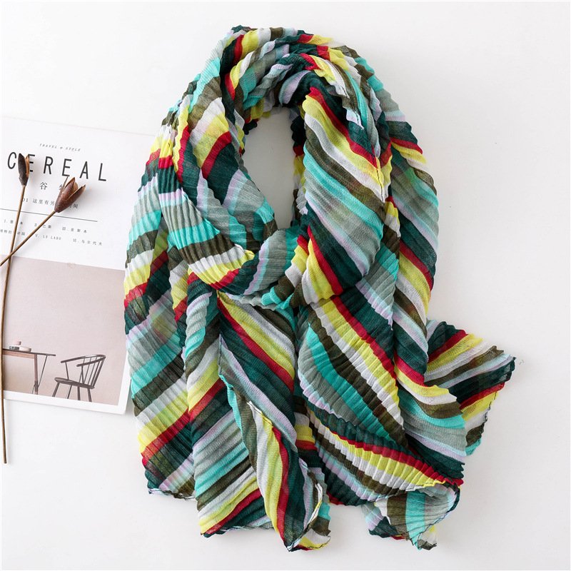 Women Antumn Winter Wrinkle   Scarf   Luxury Brand Colorful Striped Viscose   Scarves     Wrap   Long Pashmina Shawls Hijab Muslim Headband