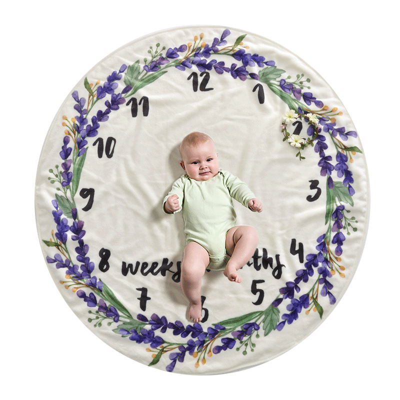 95X95cm Round Newborn Milestone Blanket Baby Photo Posing Props Baby Blanket Baby Playing Mat Baby Milstone Photo Background