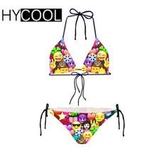 0aa1a0fe9f HYCOOL Sexy Women Bikini Suit Funny Emoji Smile Face Printing Swimsuit Two  Piece Beach Swimwear Bathing