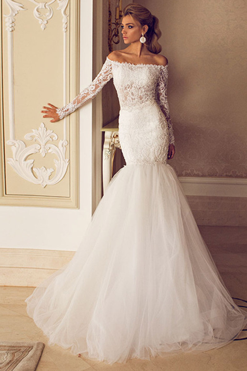 2016 hot sale sheathwedding dress floor length lace bridal for Wedding dresses with sleeves for sale