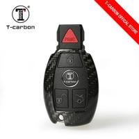 T-fibra de carbono caso chave capa para mercedes benz w204 w205 w212 b200 c180 e260l s320 glk300 cla cls s400 estilo do carro