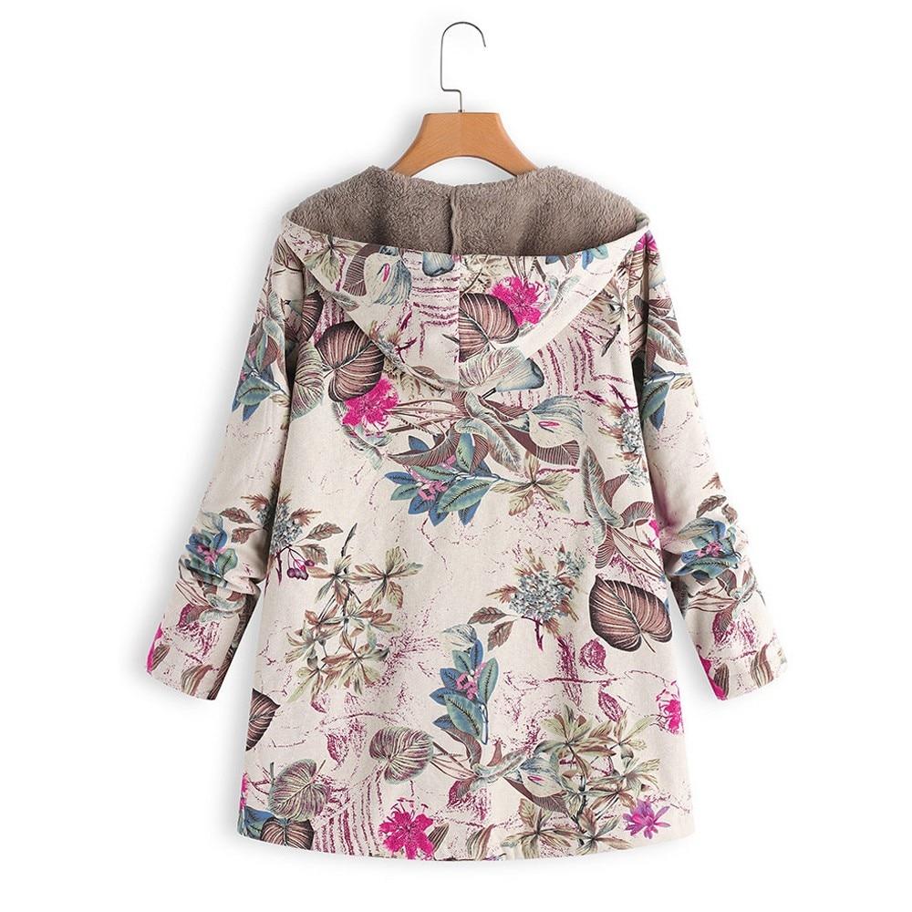 Manteau femme rétro grande taille imprimé Floral à capuche avec poches 2