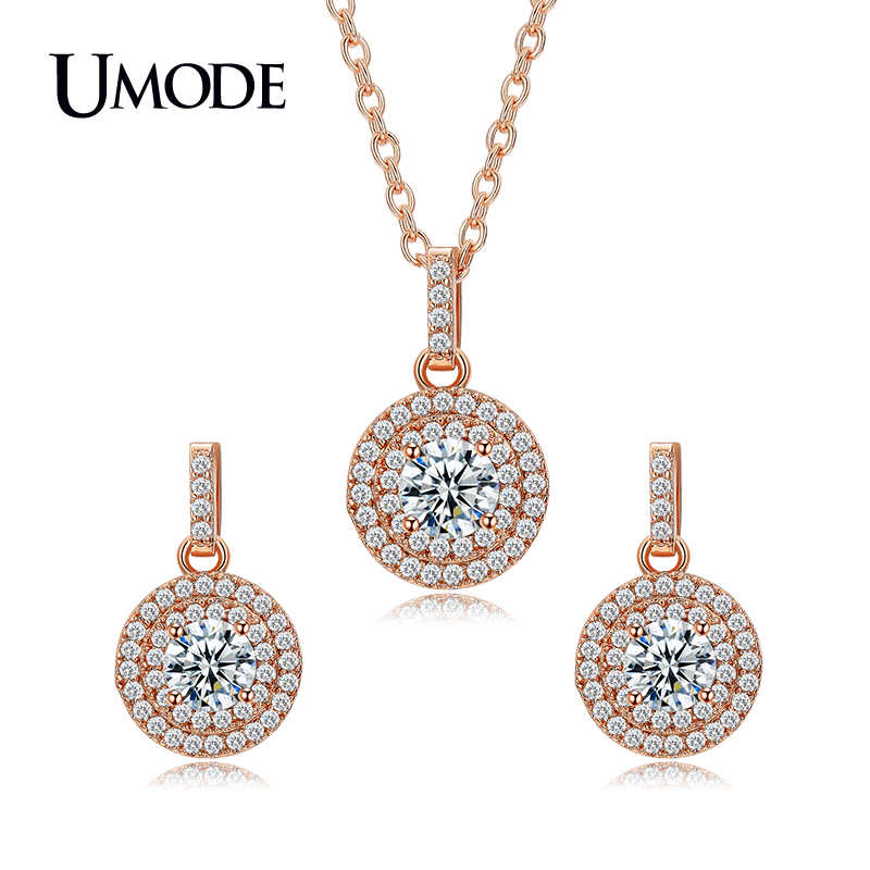 UMODE Brand Lovely Rose Gold Color Halo 0.5ct Round CZ Crystal Wedding Jewelry Sets for Women Fashion Accessories Sets US0041