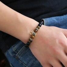 HOBBORN Trendy Men Natural Stone Bracelet 8mm Matte Black Onyx Tiger Eye Beads Strand Crystal Crown Women Meditation Bracelets