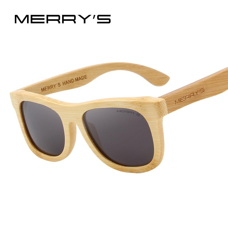 09668b4d117eb MERRY S PROJETO de Bambu Óculos De Sol Dos Homens Mulheres Retro Polarizada  Óculos de Sol