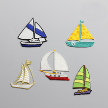 1pc boat embroidered Patches for Clothing iron on Embroidery Stickers backpack Clothing Applique Decoration carton Badge snake 1pc landscape embroidered patches for clothing sew on tree embroidery parches for backpack clothing applique decoration badge