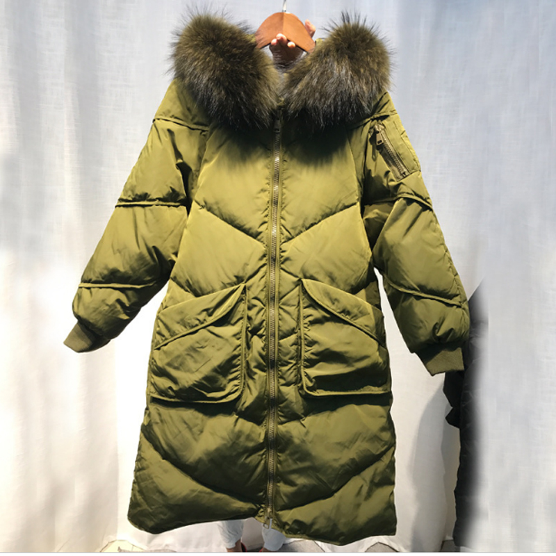 2017 Maternity winter coat down jacket women Real fur collar  Warm pregnant women Fashion Coat Army Green new army green long raccoon fur collar coat women winter real fox fur liner hooded jacket women bomber parka female ladies fp890