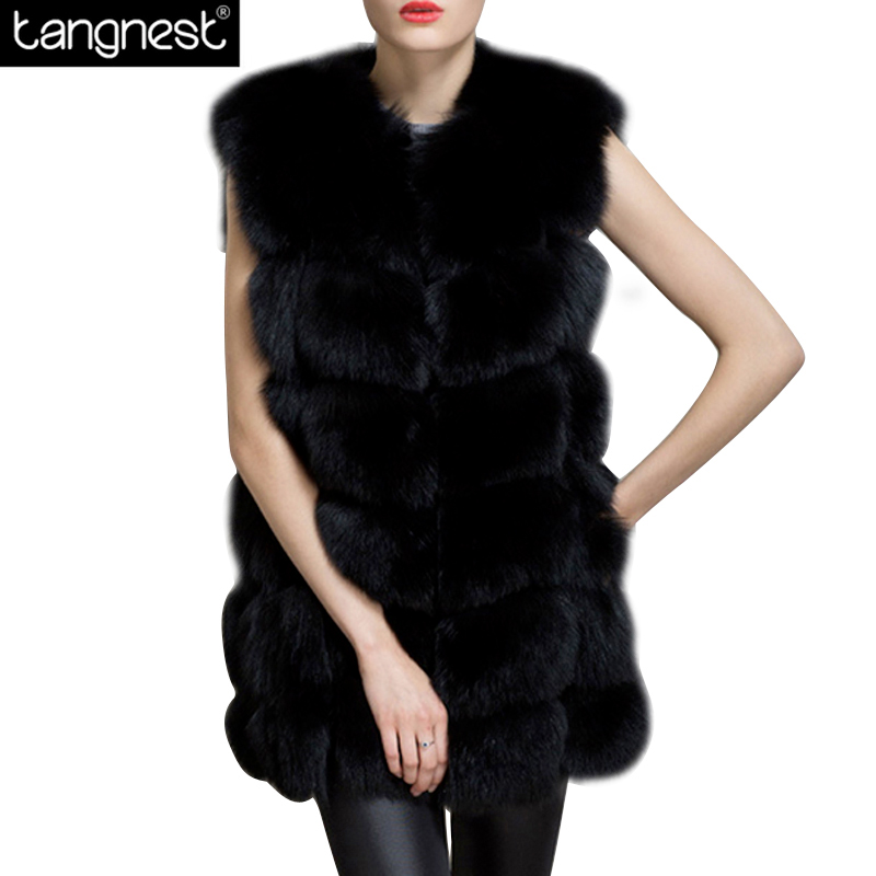 TANGNEST Solid Faux Fur Long Vests 2017 Winter Fashion Women Pocket High-Grade Furry Waist Coats Leisure Plus Size Coat WWC134
