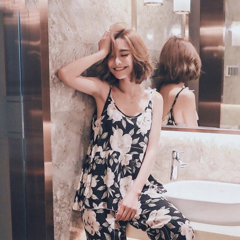 2019 Summer Womens Sleeveless Cotton Pajamas Set Flower Print Sexy Nightgowns Casual Thin Sleepwear Female Nightdress Chemise