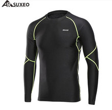 ARSUXEO Mens Winter Warm Up Fleece Compression Shirt Base Layer Running Long Sleeves Tights Workout GYM T