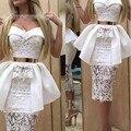 Vintage 1950s Lace Cocktail Dresses Party Gowns Mermaid White Sweetheart Short Mini Party Bridal Gown vestidos de festa curto