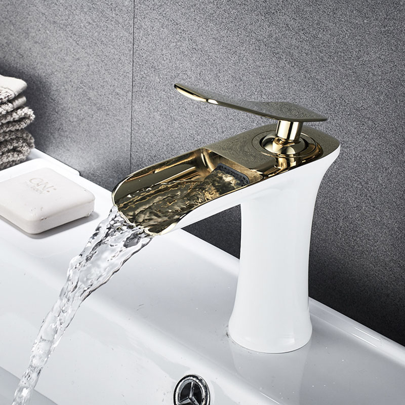 Free Shipping Basin Sink Faucet golden white chrome Single Handle Waterfall Bathroom Mixer Deck Mounted taps