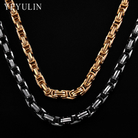 High Quality Gold Silver Black Color Stainless Steel 8mm Square Buckle Chain Choker Necklace For Men