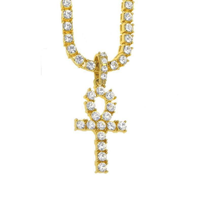 Ankh Cross Necklace Egyptian Jewelry Gold Color Pendant Tennis Chain Formen Key To Life Egypt Cross Vintage Gifts Drop Shipping