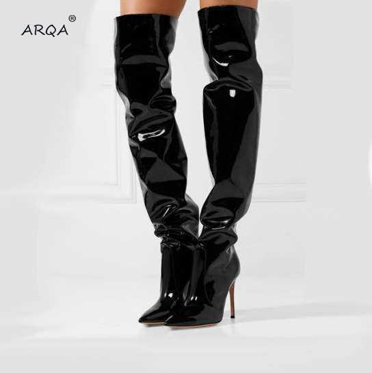 Wiosna jesień Zip czarny dorywczo szpilki kobiety buty lustro platformy Pointy Toe Punk wysokie szpilki ponad kolana długie buty